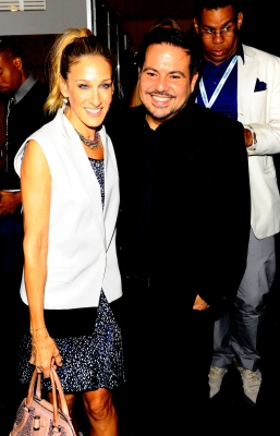 Sarah Jessica Parker and designer Narciso Rodriguez attend Mercedes-Benz Fashion Week at Lincoln Center, NYC, September 14, 2010