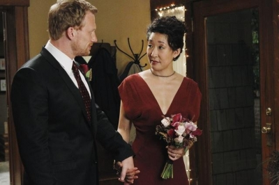"Christina and Owen prepare to walk down the aisle on ""Grey's Anatomy"""