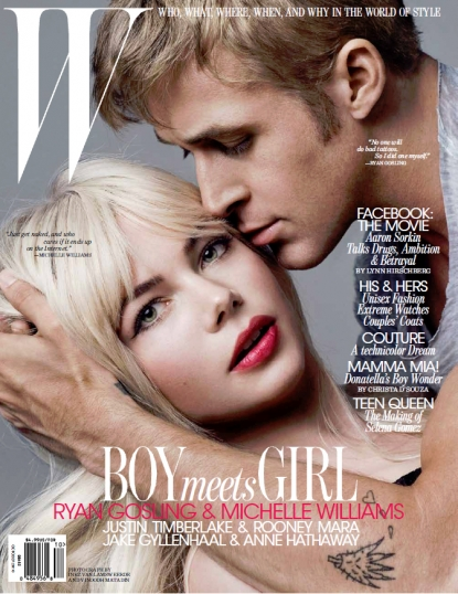 Michelle Williams and Ryan Gosling on the cover of W Magazine&#8217;s October 2010 issue
