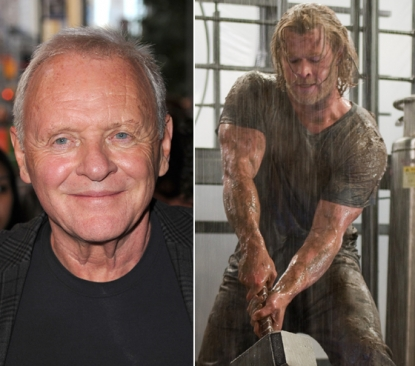 "Anthony Hopkins (left), Chris Hemsworth as ""Thor"" (right)"