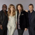 """American Idol"" Season 10 judges Randy Jackson, Jennifer Lopez and Steven Tyler are seen with show host Ryan Seacrest on September 22, 2010"