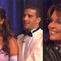 Bristol Palin and Mark Ballas receive their critiques from the judges (left), Sarah Palin in the audience (right), &#8220;Dancing with the Stars,&#8221; Sept. 27, 2010
