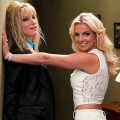 Brittany (Heather Morris) and Britney Spears on the &#8220;Glee&#8221; set. Photo courtesy of Britney&#8217;s Twitpic