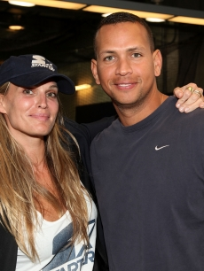 Molly Sims and Alex Rodriguez pose at Starter Day at Yankee Stadium, NYC, September 23, 2010
