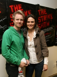 David Hornsby and Emily Deschanel attend The Strike Show to benefit the Motion Picture and Television Fund at the Steve Allen Theatre in Hollywood on December 12, 2007