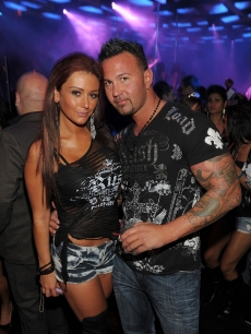 "Jenni ""JWoww"" Farley and her boyfriend, Roger Matthews, hang out at Jet Nightclub, The Mirage Hotel and Casino, Las Vegas, Sept. 24, 2010"