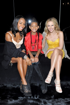 Jada Pinkett Smith, Willow Smith and Kylie Minogue attend the Dolce & Gabbana VIP Room during Milan Fashion Week Womenswear Spring/Summer 2011 in Milan, Italy, on September 26, 2010