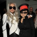 Lady Gaga and Yoko Ono pose backstage at the &#8220;We Are Plastic Ono Band&#8221; concert held at the Orpheum Theatre in Los Angeles on October 2, 2010 