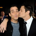Steve O and Johnny Knoxville share a kiss at the premiere of  &#8220;Jackass 3D&#8221; at the Chinese Theater in Los Angeles on October 13, 2010