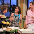 Bobby Flay stops by Access Hollywood Live on October 15, 2010 and cooks with Kit Hoover and Billy Bush