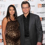 "A pregnant Luciana Barroso and Matt Damon attend the closing night premiere of ""Hereafter"" during the 48th New York Film Festival at Alice Tully Hall in New York City on October 10, 2010"