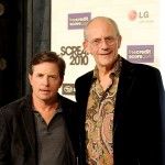 """Back To The Future's"" Marty & Doc reunited! Michael J. Fox and Christopher Lloyd arrive at Spike TV's ""Scream 2010"" at The Greek Theatre, LA, October 16, 2010"