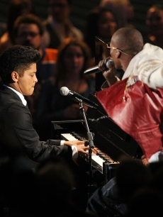 Bruno Mars and rapper B.o.B perform onstage during the 2010 MTV Video Music Awards at NOKIA Theatre L.A. LIVE in Los Angeles on September 12, 2010