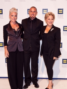 Pink, Carey Hart and Bette Midler arrive at the 14th Annual Human Rights Campaign National Dinner at the Washington Convention Center in Washington, DC, on October 9, 2010