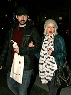 Jordan Bratman and Christina Aguilera sighting at La Scala restaurant on December 21, 2009 in Beverly Hills