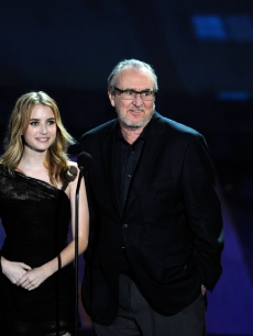 "Neve Campbell, Emma Roberts, Wes Craven and David Arquette speak onstage during Spike TV's ""SCREAM 2010"" at The Greek Theatre in LA on October 16, 2010"