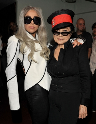 "Lady Gaga and Yoko Ono pose backstage at the ""We Are Plastic Ono Band"" concert held at the Orpheum Theatre in Los Angeles on October 2, 2010"