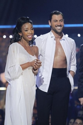 Brandy and Maksim await their 'Dancing' scores, Oct. 11, 2010