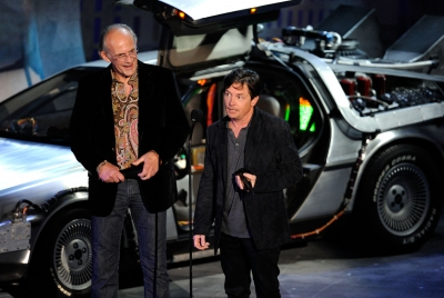 "Christopher Lloyd and Michael J. Fox accept the Discretionary award onstage during Spike TV's ""SCREAM 2010"" at The Greek Theatre in LA on October 16, 2010"