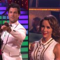 "Brandy and Maksim Chmerkovskiy and Jennifer Grey with Derek Hough on ""Dancing with the Stars'"" TV theme week, LA, Oct. 18, 2010"