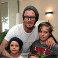 David Beckham with sons Cruz Beckham, Romeo Beckham and Brooklyn Beckham attend Kinect for Xbox 360 Launch Party held at a private residence in Beverly Hills on October 23, 2010  