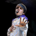 Justin Bieber performs onstage at the Staples Center in Los Angeles, California on October 25, 2010 