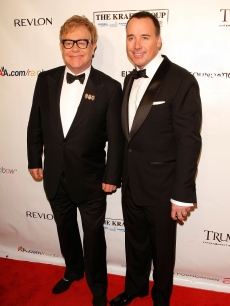 Elton John and David Furnish attend the 9th Annual Elton John AIDS Foundation's An Enduring Vision benefit at Cipriani, Wall Street on October 18, 2010