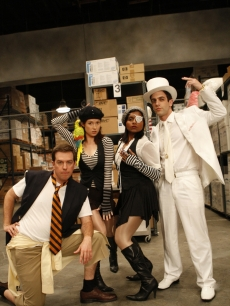 "Mindy Kaling, Ed Helms, B.J. Novak and Ellie Kemper dress up for their first-ever music video for ""Male Prima Donna,"" which premiered on ""The Office"" on NBC, October 29, 2009"