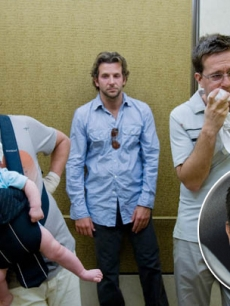 "Zach Galifianakis, Bradley Cooper and Ed Helms in ""The Hangover"" (Inset: Mel Gibson)"