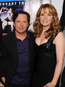 "Michael J. Fox and Lea Thompson attend the ""Back to the Future"" 25th anniversary trilogy Blu-Ray release at Gustavino's, NYC, October 25, 2010"