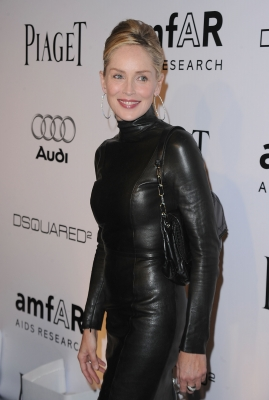 Sharon Stone arrives at the amfAR Inspiration Gala celebrating men's style with Piaget and DSquared 2 at Chateau Marmont in Los Angeles on October 27, 2010