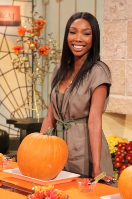 Brandy stops by for some pumpkin carving on Access Hollywood Live on October 29, 2010