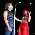Jon Bon Jovi and Rihanna perform on stage during a secret gig for the MTV Europe Music Awards 2010 at the Teatro Circo Price in Madrid, Spain, on November 6, 2010