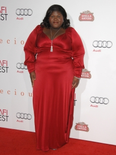 "Gabourey Sidibe wears a David Meister dress at the AFI FEST 2009 screening of ""Precious"" on November 1, 2009 in Hollywood"