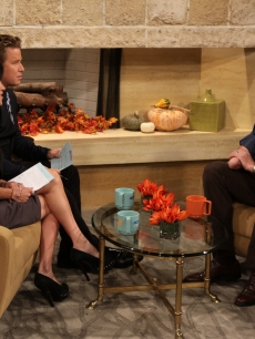 Aron Ralston chats with Billy Bush and Kit Hoover on Access Hollywood Live in LA on November 4, 2010