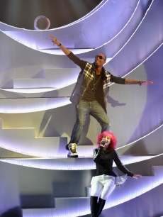 Paramore's Hayley Williams and B.O.B. perform on stage during the MTV Europe Music Awards 2010 live show at La Caja Magica in Madrid, Spain, on November 7, 2010