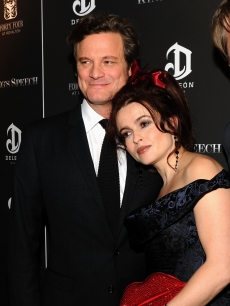 "Colin Firth and Helena Bonham Carter attend the premiere of ""The King's Speech"" presented by The Weinstein Company, DeLeon, and AOL at Ziegfeld Theatre, NYC, November 8, 2010"
