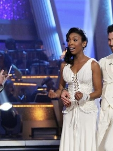 "Brandy and Maks react as they're complimented by the judges on ""Dancing,"" Nov. 8, 2010"