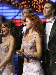 "Jennifer Grey, Derek Hough, Anna Trebunskaya and Kurt Warner on ""Dancing,"" Nov. 8, 2010"