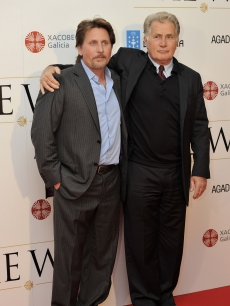 Martin Sheen puts his arm around son Emilio Estevez at &#8220;The Way&#8221; premiere at the Callao cinema in Madrid, Spain, on November 10, 2010