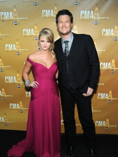 Miranda Lambert and Blake Shelton attend the 44th Annual CMA Awards at the Bridgestone Arena in Nashville, Tennessee, on November 10, 2010 
