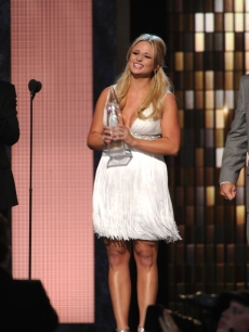 Miranda Lambert holds the award for Album of the Year at the 44th Annual CMA Awards at the Bridgestone Arena, Nashville, November 10, 2010
