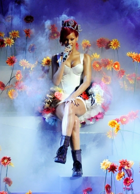 Rihanna performs onstage during the MTV Europe Music Awards 2010 live show at La Caja Magica in Madrid, Spain, on November 7, 2010