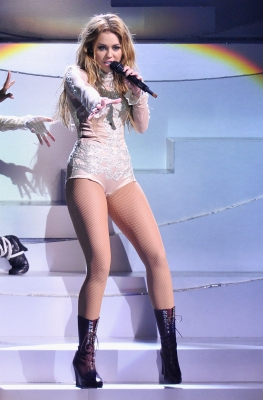 Miley Cyrus performs onstage during the MTV Europe Music Awards 2010 live show at La Caja Magica in Madrid, Spain, on November 7, 2010