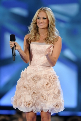 Carrie Underwood speaks at the 44th Annual CMA Awards at the Bridgestone Arena, Nashville, November 10, 2010
