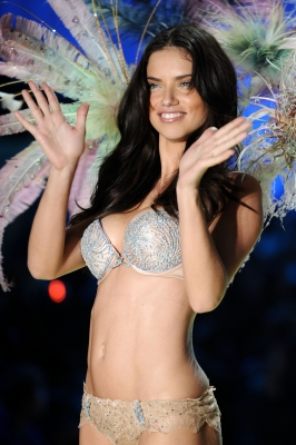 Adriana Lima, wearing $2 million fantasy bra by Damiani, walks the runway during the 2010 Victoria's Secret Fashion Show at the Lexington Avenue Armory, NYC, November 10, 2010