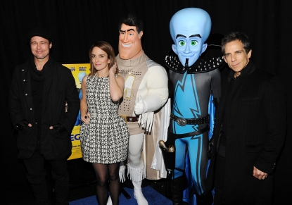 "Brad Pitt, Tina Fey and Ben Stiller attend the New York premiere of ""Megamind"" at AMC Lincoln Square Theater on November 3, 2010"