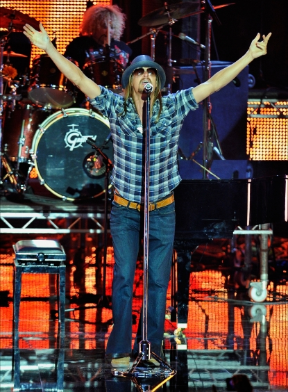 Kid Rock performs onstage during the MTV Europe Music Awards 2010 live show at La Caja Magica in Madrid, Spain, on November 7, 2010