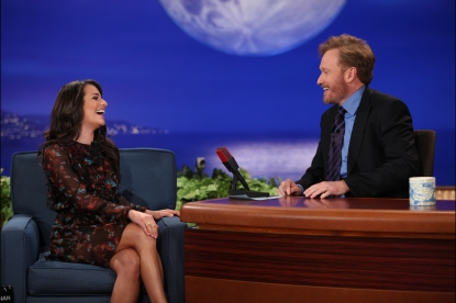 "Conan O'Brien welcomes ""Glee's"" Lea Michele to the first episode of his new late night show, ""Conan,"" Los Angeles, Nov. 8, 2010"