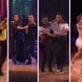 "Lacey Schwimmer and Kyle Massey, Bristol Palin and Mark Ballas, Brandy and Maksim Chmerkovskiy, and Jennifer Grey with Derek Hough on ""Dancing,"" Nov. 15, 2010"